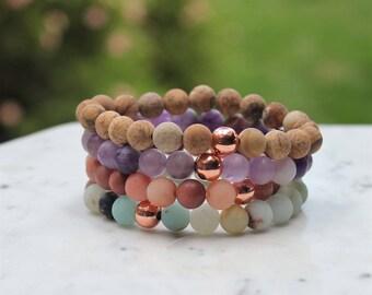 Copper Bracelets, Healing Bracelet , Matte Gemstone Bracelet , Bracelets for Women, Solid copper, Matte gemstone, Amethyst, Amethyst Jewelry