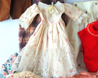 Vintage Doll Clothes Lot of 14 Dolls Dresses Coats Sweater Overalls Skirts Fancy Doll Dresses Antique Dolls Clothing Pink Blue FREE SHIPPING