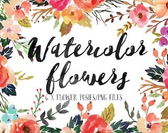 6 X Watercolor flower posies/PNG files/Wedding set