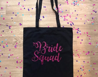 Personalised Bride Squad Tote Bag // Wedding Bride Bridesmaid Hen Do Party Weekend Black White