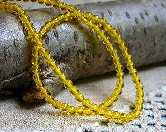 100pcs Preciosa Czech Pressed Glass Beads Druk Round Yellow  4mm 16In Thanksgiving Color