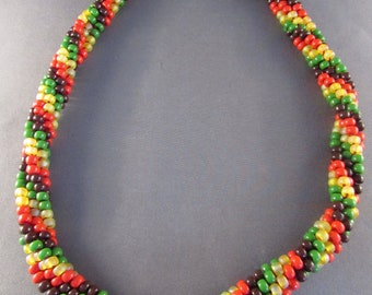 Beaded  Necklace - Yellow Brown Red Green Kumihimo