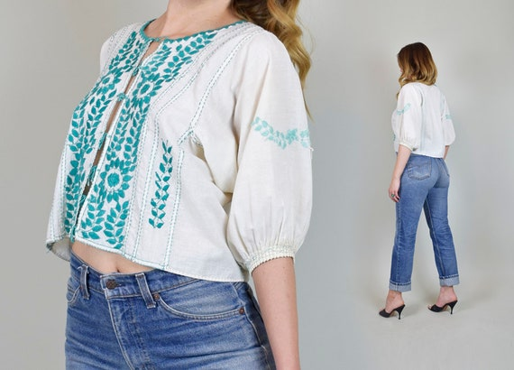 1940s Peasant ethnic cotton Embroidered Leaf boho Peasant Top Top Blouse Floral mexican white Turquoise Up Embroidered Embroidery Blue Lace r4wWgXqZCr