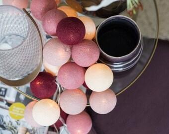 10 Lights CottonBallLights Rosegarden Handmade