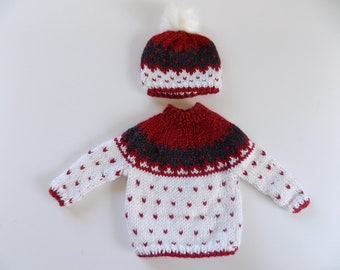 Doll Sweater and Hat, Knit Doll Sweater, Winter Doll Clothes, 18 Inch Doll Clothes, Girl Doll Clothes