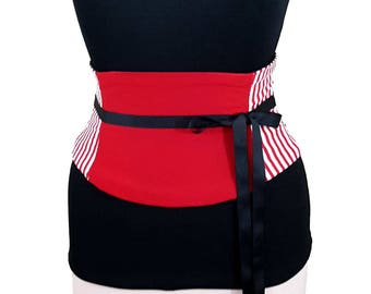 Striped Corset Belt / Red Black White Waist Cincher / Obi Belt / Dance Costume / Stripe Obi Belt / Lace Up Belt / Under bust Corset