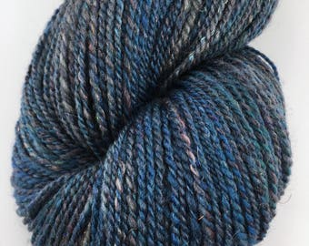 """Handspun Sport Yarn """"Denim"""" 350 yds Falkland Silk"""