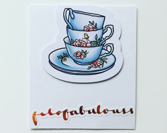 Tea Cups Magnetic Book Mark - Page Marker