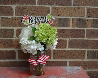 Believe flower pick or page accent diecut Christmas handcrafted floral decor from cardstock