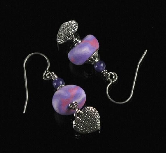 Silver Heart Earrings, Pink Purple Polymer Clay Jewelry, Romantic Dangle Earrings, Unique Heart Jewelry Gift for Her, Mom, Girlfriend, Wife