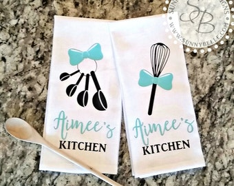 Genial Personalized Kitchen Towels; Set Of Two; Monogrammed Kitchen Towels; Bridal  Shower Gift; Wedding Gift, Housewarming Gift, Kitchen Shower
