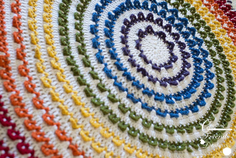 Crochet Pattern, Loop the Loop Round Textured Rainbow Afghan, Rug ...