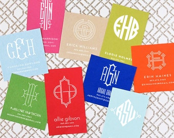 Calling cards etsy square personalized monogram calling cards colourmoves