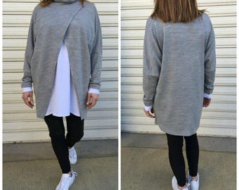"Oversized Tunic Dress / Long Sleeves Knitted Top / Grey and White Turthelneck Loose Blouse - "" Double Check"""