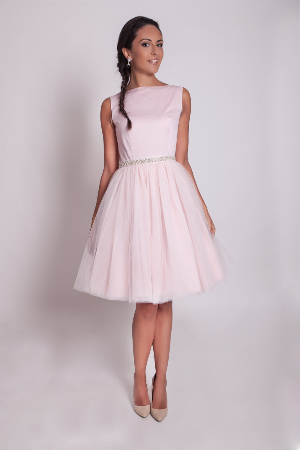 pink tulle bridesmaid dresses