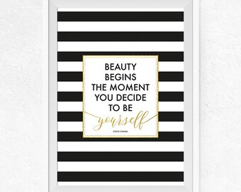 Beauty begins Printable, Printable Poster, Inspirational Quote, Coco Chanel Quote, Typography Poster, Home Decor, Wall Art - #0243