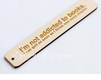 "1.3""x6"" Wooden Bookmark - Laser Cut and Etched on Wood"