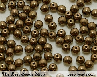 100pcs Old Gold Brown Round Czech Glass Pressed Beads 4mm