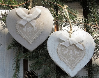 Wooden shabby hearts-Christmas decorations to hang-set of two