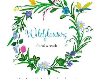 Flower illustration etsy watercolor floral wreath frame wildflowers clip art hand painted flowers illustration invitation diy design greeting card download print m4hsunfo