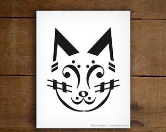 Music note art print / CAT music art print - 5x7, 8x10, 11x14 art print / Black and white art / Music gift / Music room decor / Music print