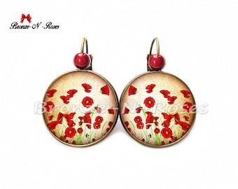 Poppies garden earrings nature leaf earrings red flower cabochon