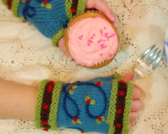 Cupcake Kid Mitts - pdf knitting pattern