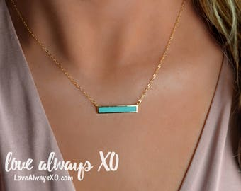 Turquoise Necklace, Turquoise Bar Necklace, Turquoise Gold Necklace, Turquoise jewelry, bar necklace, delicate necklace, turquoise