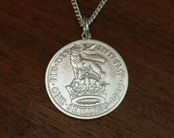 1929 George V Silver Shilling Coin Necklace