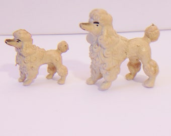 Vintage Poodle Figurines Plastic Dollhouse Toy Dog Puppy Figures Hong Kong