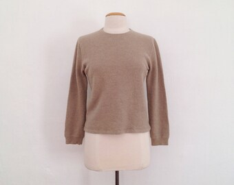 khaki pullover sweater vintage beige sweater crew neck sweater womens simple wool pull over minimalist clothing waffle