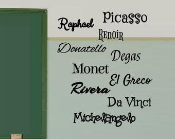 Artist names Vinyl Decals - Classroom Decal - Wall Decal - Art Class Sticker -  history Class room Decal - Teacher - Class decorations