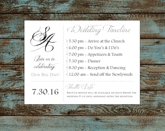 Monogram with Ampersand 100 Personalized and Printed Timelines. Wedding Invitations Inserts.  Ceremony Reception Schedule.