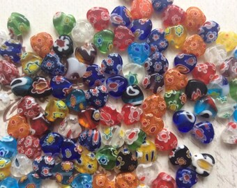 SET of 20 8mm Shining Heart Millefiori Glass Beads Multi-Colored with Flower designs