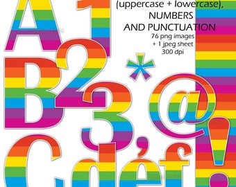 Rainbow alphabet, number and punctuation clip art set - printable colorful digital letters - instant download