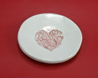 Heart  Ring Dish Tea Bag Holder Spoon rest Stoneware foodsafe & lead free glaze made to order