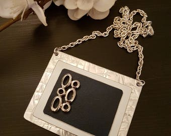 Navy Blue and White Necklace Pendant