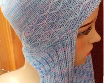 Hand Knitted Ladies All in One Hat & Scarf