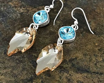 Turquoise and Golden Crystal Earrings made with Swarovski Crystal and Sterling Silver