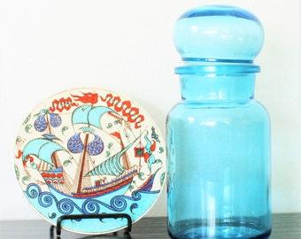 Vintage Turquoise Blue Glass Apothecary Jar Made in Belgium,Scandinavian Mid Century Modern,Retro Storage,Vintage Dansk Apothecary Jar,1970s