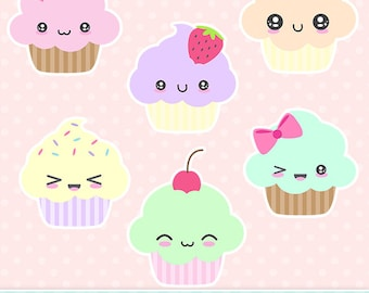 Cute Kawaii Cupcakes Clip Art Instant Download Commercial Use Clipart - 12 Files Transparent PNG & JPG