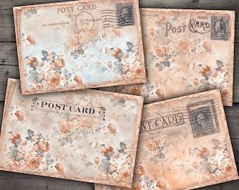 Vintage Floral Postcards - Digital Collage Sheet Printables
