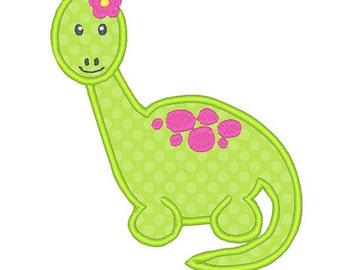 Girl Dinosaur Applique Embroidery Design - Instant Download