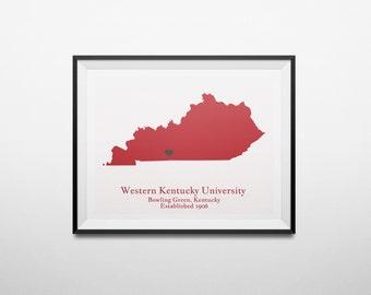 Map Print of Western Kentucky University, WKU, Bowling Green, Kentucky