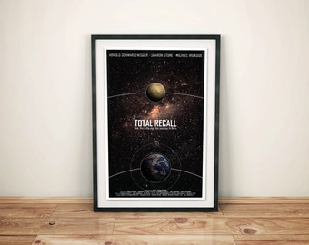 Total Recall: Cult SciFi Movie Poster // Memories of a Lifetime // Space, Stars, Planet and Quote Poster