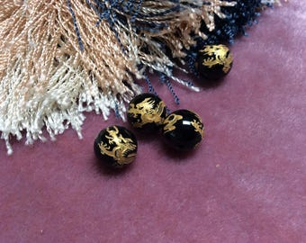Gold etched black onyx dragon bead - 4 Pieces -  #964