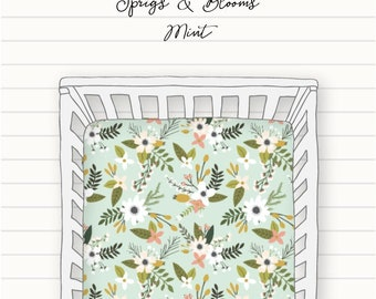 Crib Sheet - Blooms and Sprigs Mint Large - Fitted Sheet, Nursery Bedding, Girl Crib Sheet, Floral, Mint, Coral, Green, White