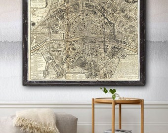 "Paris Map 1705, Romantical map of Paris in 5 sizes up to 43x36"" (110x90cm) Vintage map of Paris, France - Limited Edition of 100"