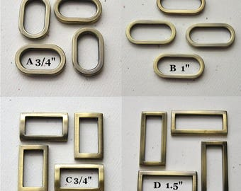 "Oval or Rectangle D Rings Antique Brass Plated Purse Hardware 3/4"" 1"" 1.5"" - set of 4"