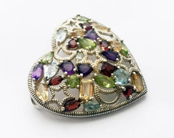 Vintage German Art Deco Heart Pendant 925 Silver Aquamarine Amethyst Topas Medallion Heart Necklace